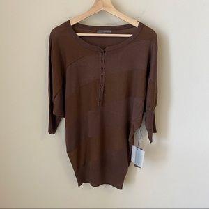 NWT Matty B Brown sparkle sweater blouse